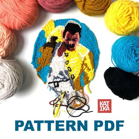 Freddie Mercury Portrait Pattern by Katika