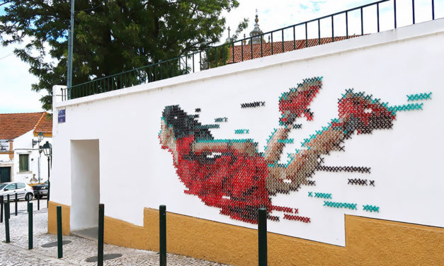 It Took 2,300 screws & 700 Meters Of Yarn To Bring This Cross-Stitch Mural To Life … This Is Street Art At Its Best!