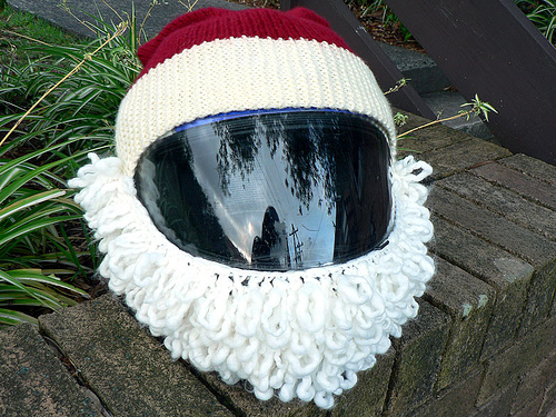 Turn a Motorcycle Helmet Into a Santa Costume ... The Best Biker Cosplay For the Holidays!