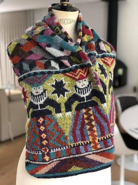 Gorgeous Foolish Virgins Scarf Knit by Kristel Vervoort, Get the Pattern Designed by Kaffe Fassett