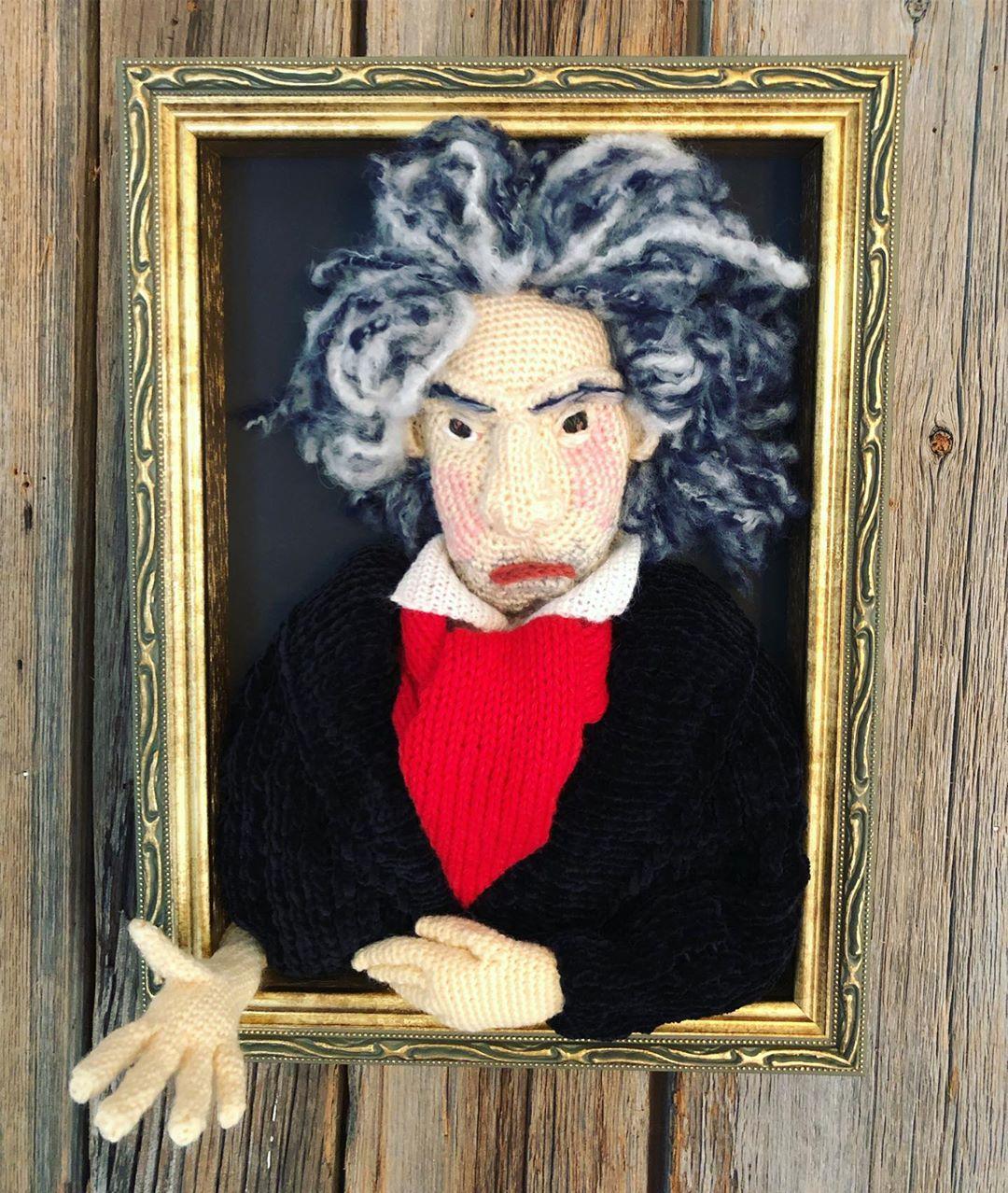 Sekimoto Tomoko's 3D Crochet Portraits of Johannes Brahms & Ludwig van Beethoven