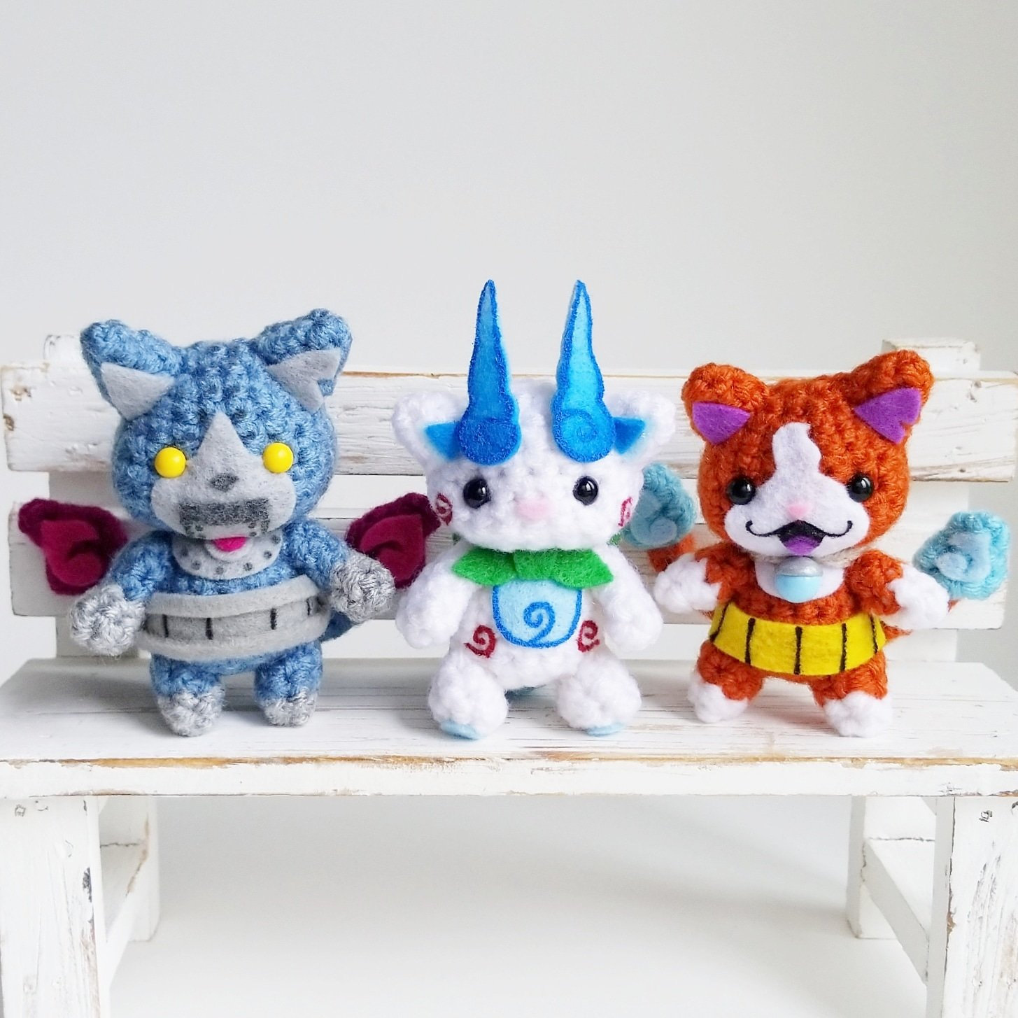 Hey Yo-kai Watch Fans, AnyaZoe Crocheted Robonyan, Koma-san and Jibanyan Amigurumi!