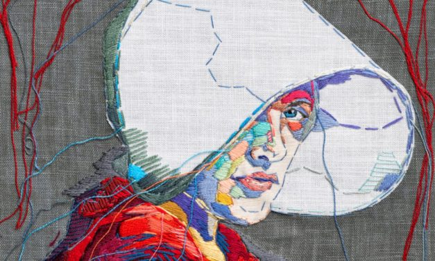 Lauren Dicioccio's Embroidered Portrait of Elisabeth Moss as Offred From The Handmaid's Tale