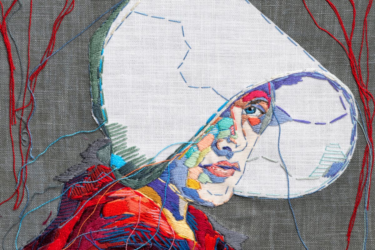 Lauren Dicioccio's Embroidered Portrait of Elizabeth Moss as Offred From Handmaid's Tale