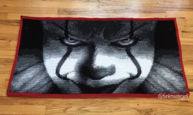 Terrifying Pennywise Portrait Afghan Crocheted By Funkmaster Jedi