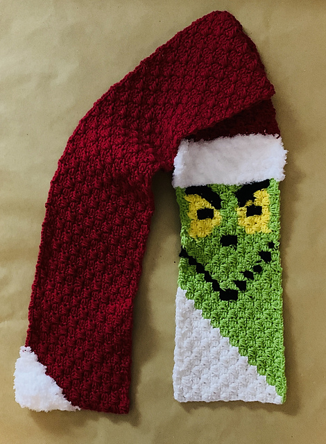 Crochet a Grinch Corner To Corner (C2C) Scarf With a Free Pattern From Jasmine Kennon