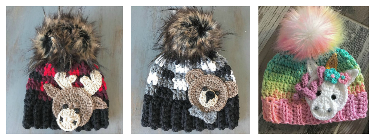 Crochet Trio of Baby Hat Patterns Featuring Animal Appliques! Pattern Set Includes Moose, Bear & Unicorn!