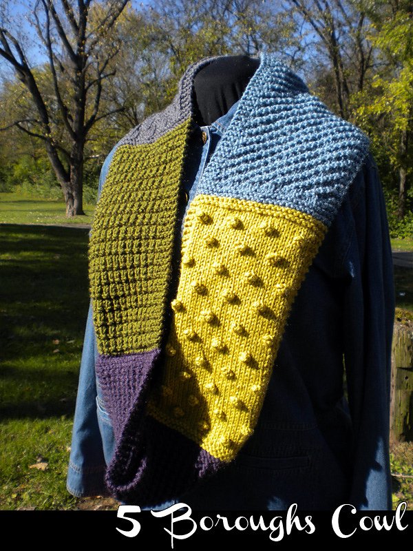 Knit a 5 Boroughs Cowl ... Practice Your Stitches - Basketweave, Moss, Bobbles, and More!
