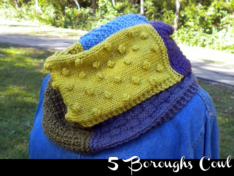 Knit a 5 Boroughs Cowl … Practice Your Stitches – Basketweave, Moss, Bobbles, and More!