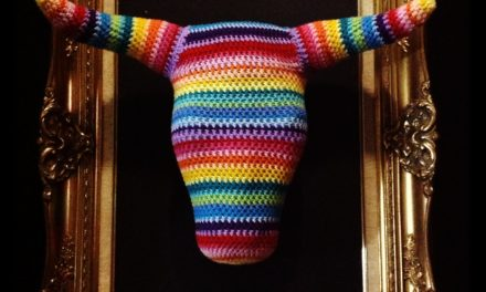 Mounted Bull Head in Rainbow Colors … Crochet Fauxidermy at its Finest