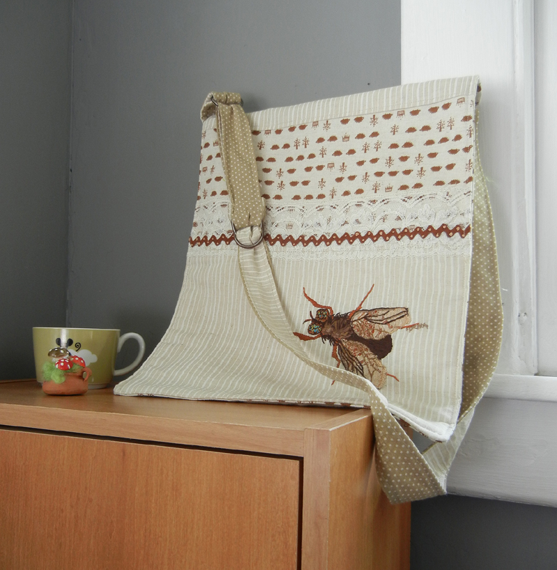 Handmade Bag Featuring Extraordinary Hand-Embroidered Fly - So Good!