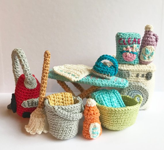 Cute Crochet Amigurumi Set To Play House By: Vacuum, Broom, Bucket & Mop, Ironing Board, Washer and More!
