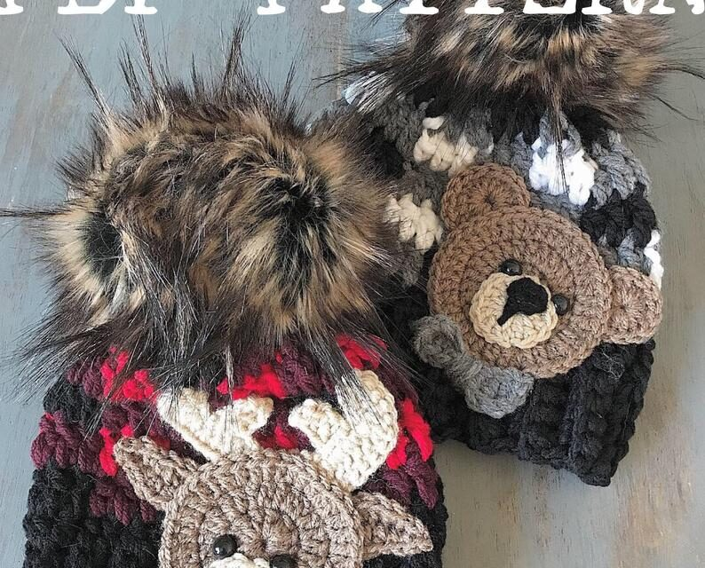 Crochet Baby Hat Patterns Featuring Animal Appliques! Pattern Set Includes a Moose and a Bear!