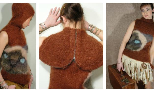 Knit a Kitty Mohair Hoodie, Sleeveless Design by Galina Carroll