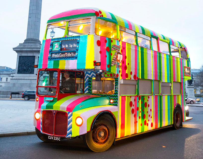 Magda Sayeg's No. 7UP Yarn Bombed Double Decker Bus