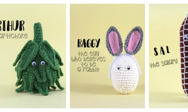 Fun Crochet Food Amigurumi by Momou … Meet Raggy the Egg, Sal the Salami and Arthur the Artichoke