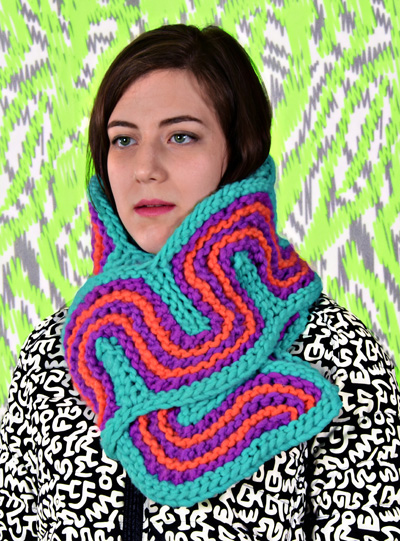 Knit an Op Art-Inspired Scarf, Free Pattern Designed By Xandy Peters