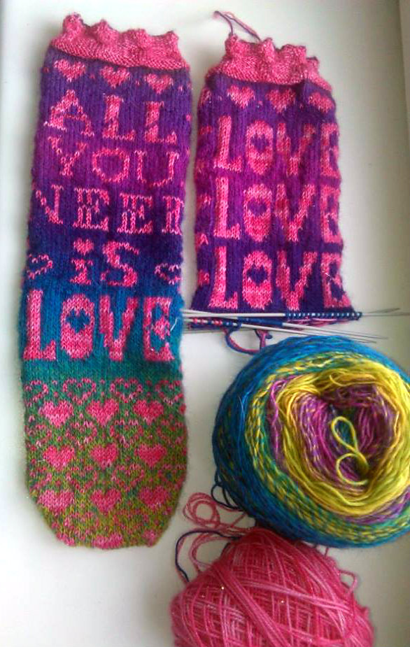 Knit a Pair of All You Need Is Love Socks, The Pattern Is Free!