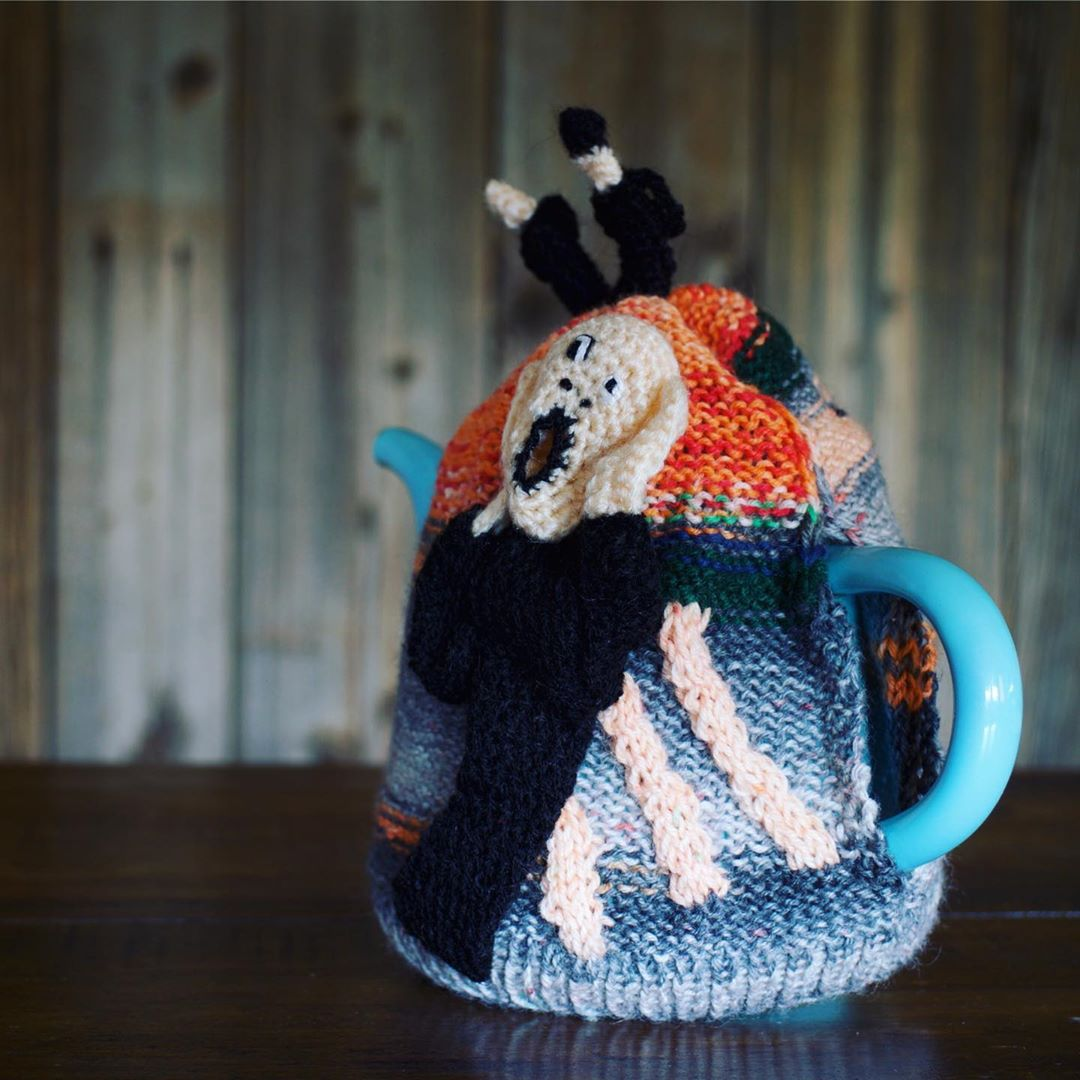 3D Knitted Tea Cozy Inspired By Edvard Munch's Scream Painting