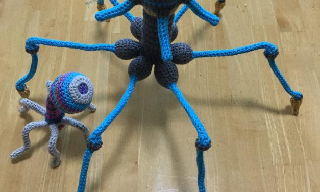Makoto Kitazawa Crocheted a Phage Soft Sculpture