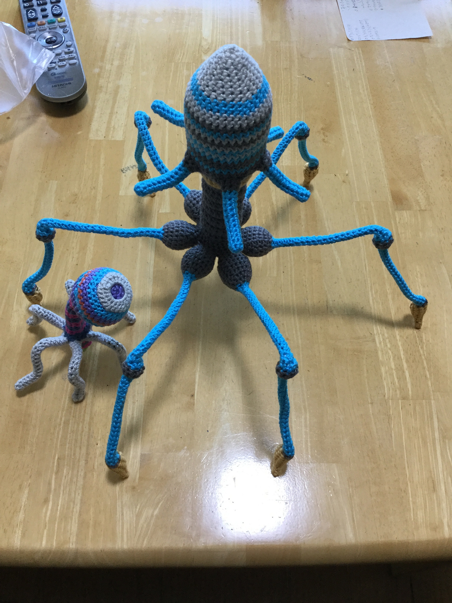 He Crocheted a Phage Soft Sculpture