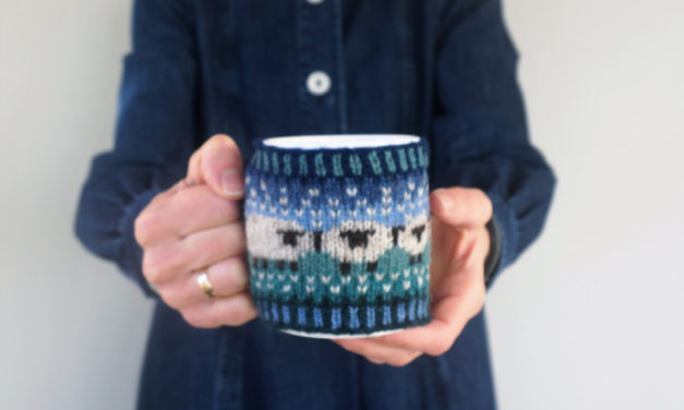 I Spy Sheep On This Baa-ble Knitted Mug Cosy … Cute and Sophisticated Too!