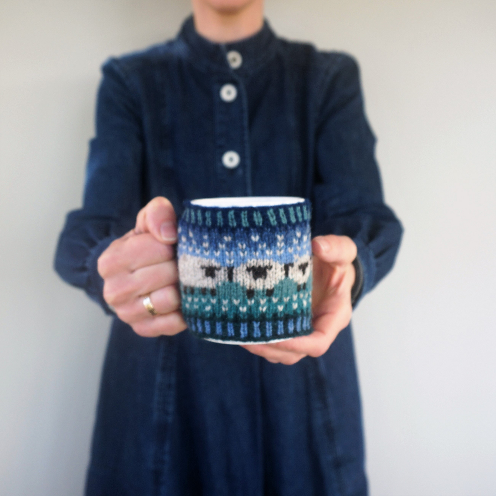 I Spy Sheep On This Baa-ble Knitted Mug Cosy ... Cute and Sophisticated Too!