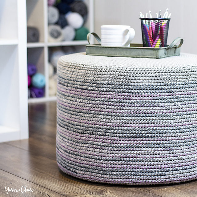 Crochet a Magical Mosaic Floor Pouf Designed By Rebecca Langford, Free Pattern & Tutorial!