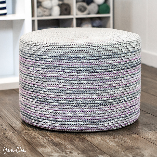 Crochet a Magical Mosaic Floor Pouf Designed By Rebecca Langford, The Pattern is Free!