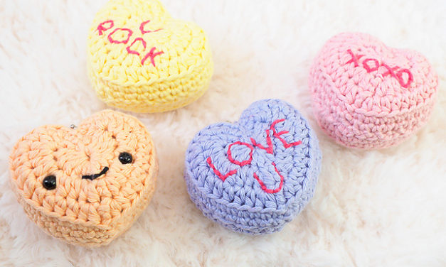 Crochet a Set of Cute Candy Conversation Hearts … Free Valentine's Day Pattern By One Dog Woof