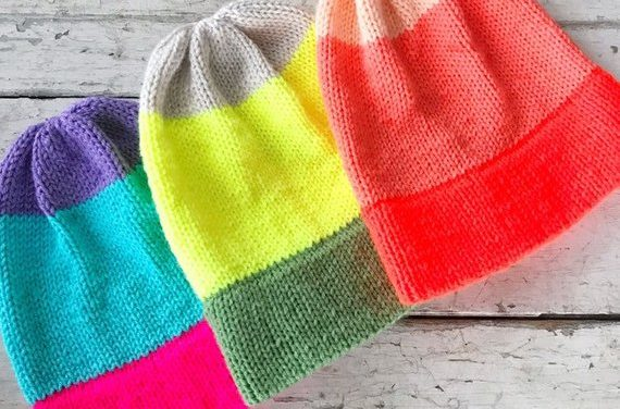 Knit an Easy Bright Fade Beanie – So Colorful and Features Double Brim!