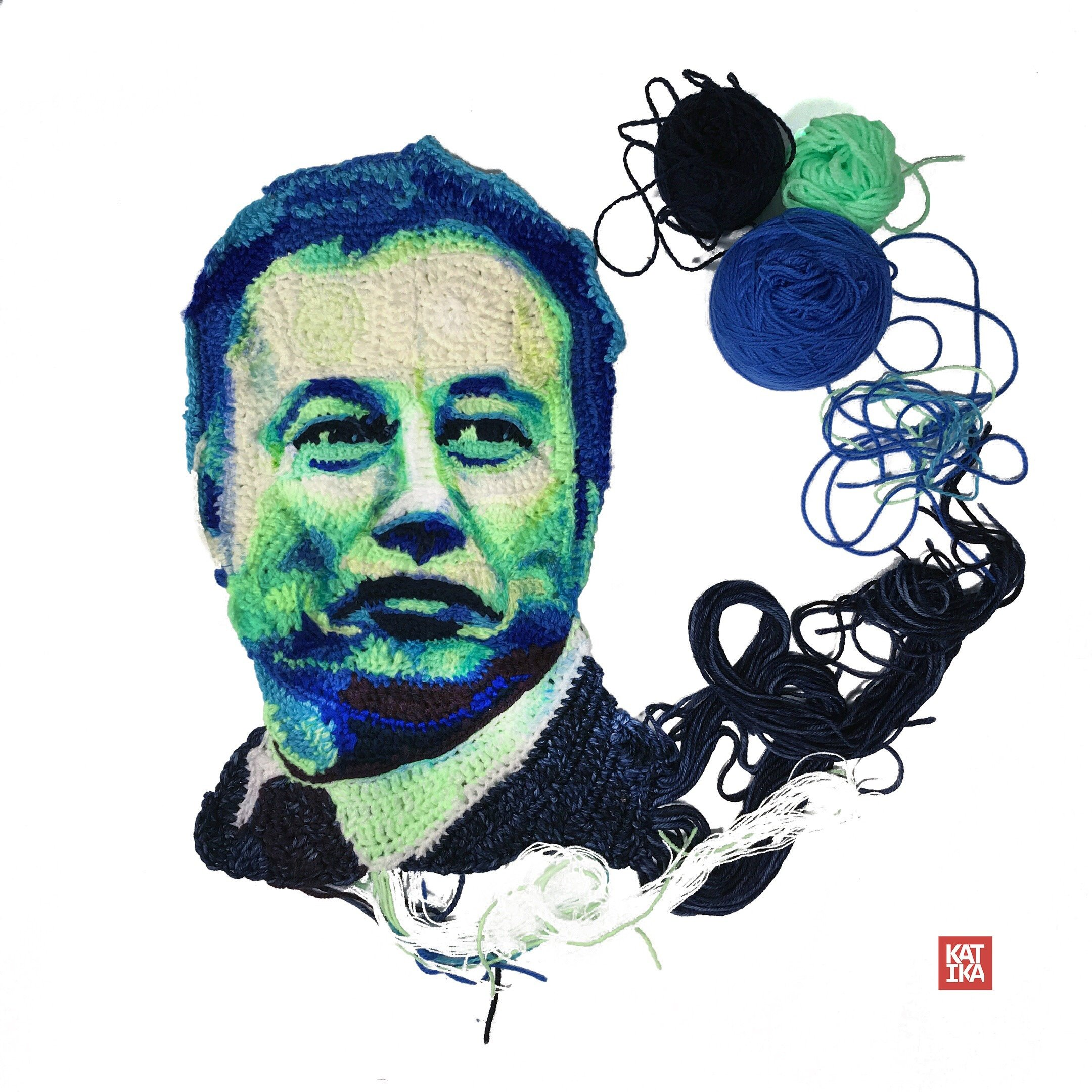 Check Out Katika's Amazing Crochet Portrait of Elon Musk!