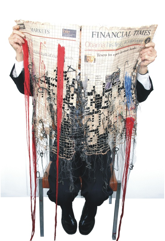 'Losses' - Kirsty Whitlock Embroidered a Financial Times From 2009 Using Recycled Materials