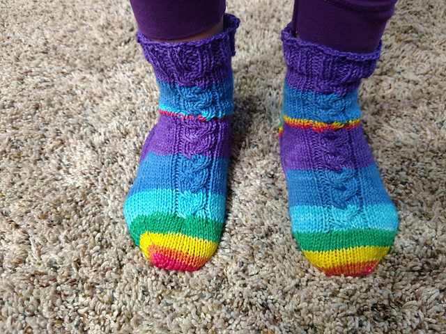 Knit a Pair of Kid's Braided Cable Socks ... The Pattern is FREE!