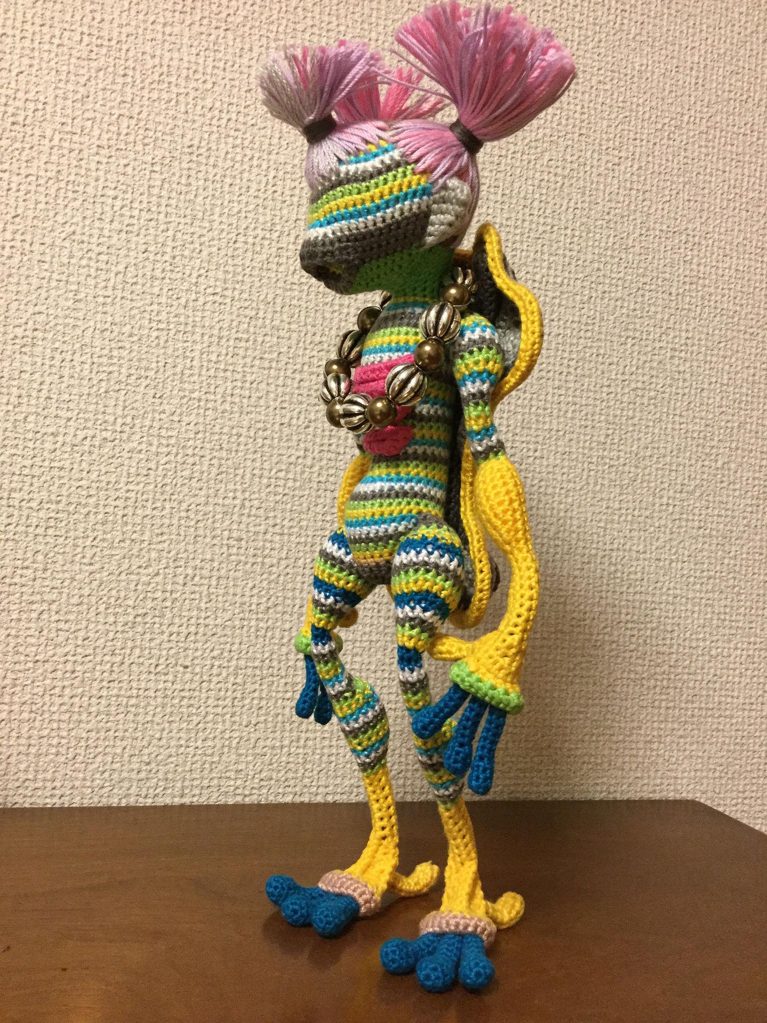 'Pink Pigtails' Amigurumi Doll Sculpture Crocheted By Makoto Kitazawa