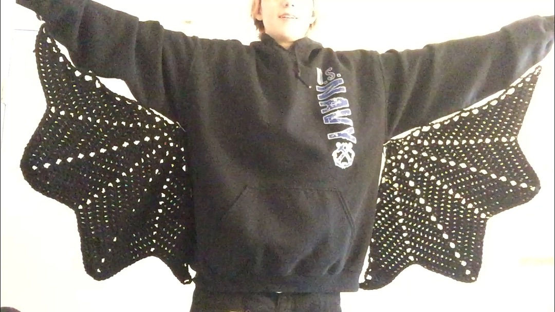 Crochet Bat Wings Designed To Be Sewn on a Sweater