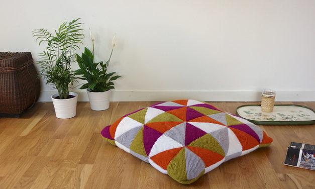 Gorgeous Patchwork Cushion Pattern Designed By Anna Ravenscroft of Kiku Knits