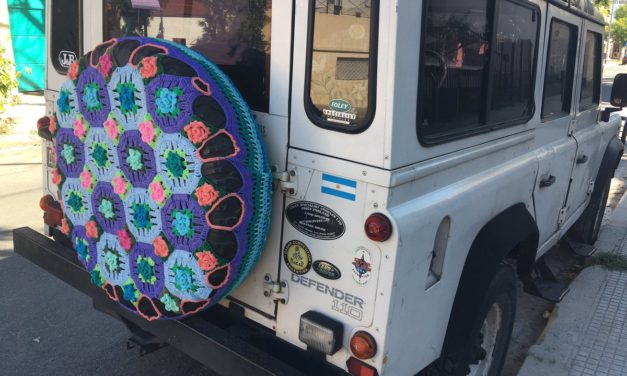 Colorful Crochet Spare Tire Cozy Spotted in Argentina!