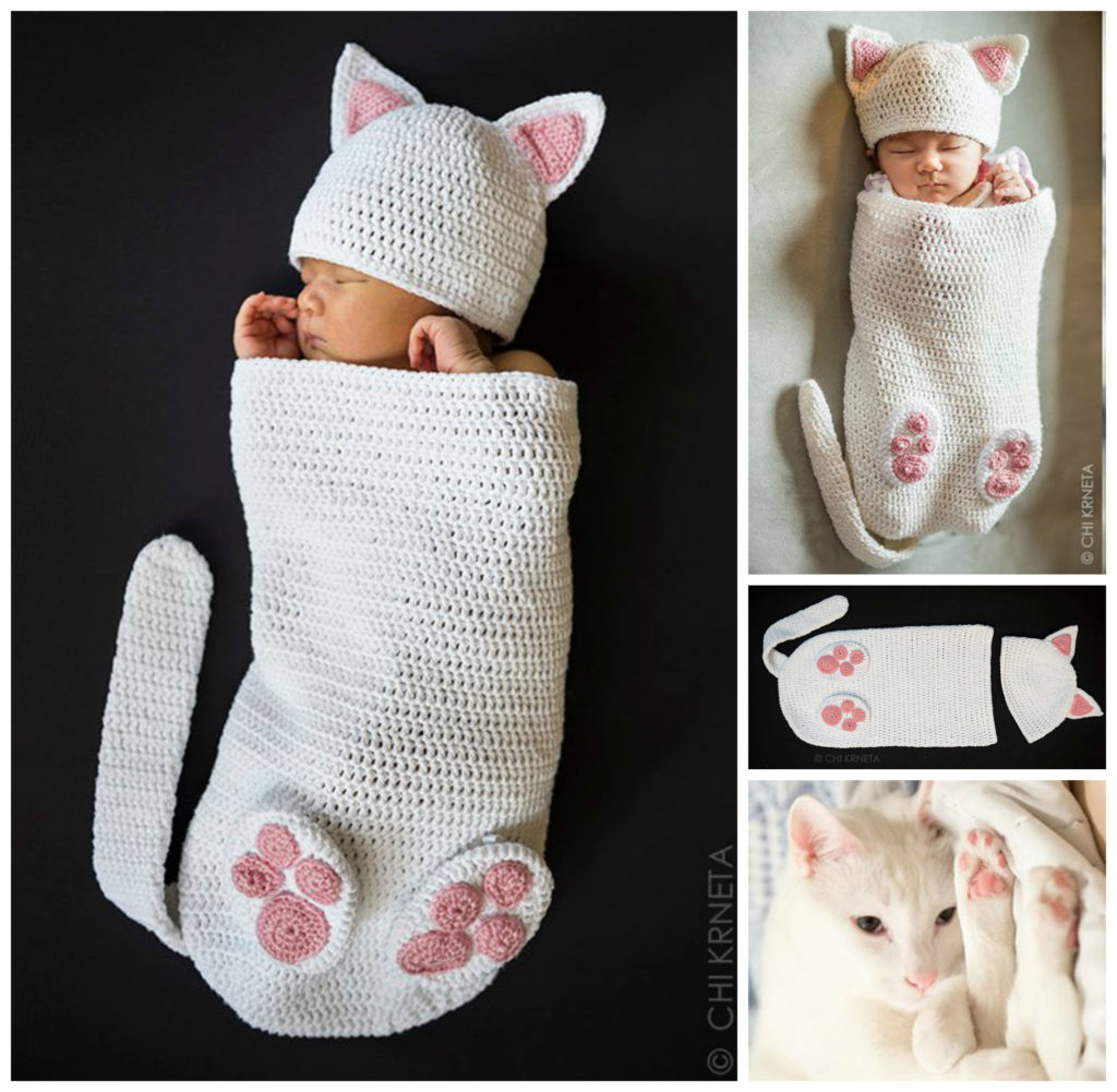 Crocheted a Cat Cocoon For Your Newborn Human - Perfect Prop For Pics!