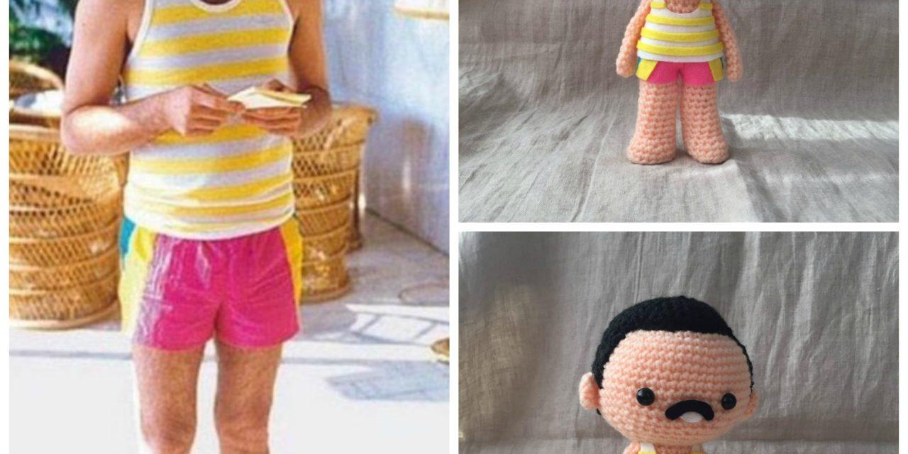 She Crocheted a Freddie Mercury in Pink Shorts Amigurumi … So Cute!