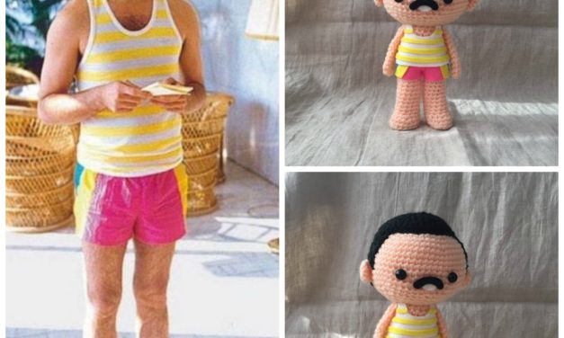 She Crocheted a Freddie Mercury in Pink Shorts Amigurumi … So Cute!