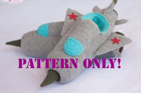MIG-21 Jet Fighter Slippers – Crochet Pattern Available, Makes a Great Gift!