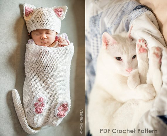 Crocheted a Cat Cocoon For Your Newborn Human – Perfect Prop For Pics!