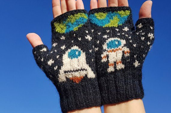 Awesome Astronaut Dream Mitts Designed and Knit By Kuki Knits