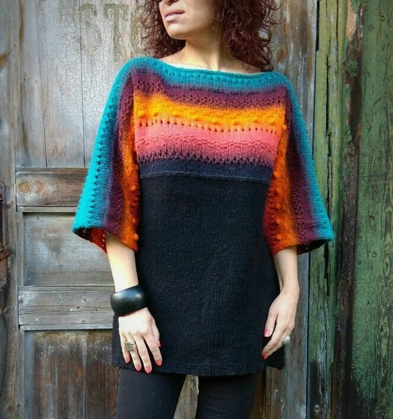 You'll Want To Knit This Unique and Super-Stylish Rainbow Tunic