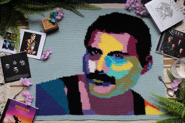 Crochet a Freddie Mercury Graphgan, Designed By Mark Roseboom aka The Guy With The Hook