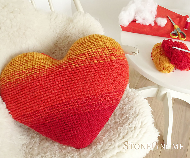 Crochet a Heart On Fire Pillow, Designed By StoneGnome