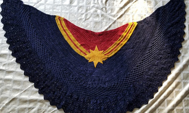 Knit a Captain Marvel-Inspired  Shawl With This FREE Pattern From a Talented First-Time Designer!