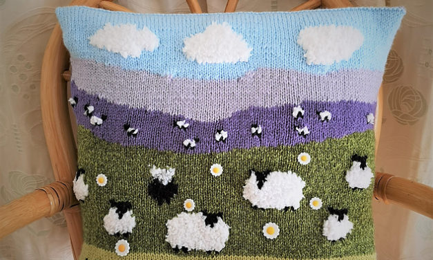 Knit a Sheep on the Hillside Pillow by Denny Gould … It's 3D!