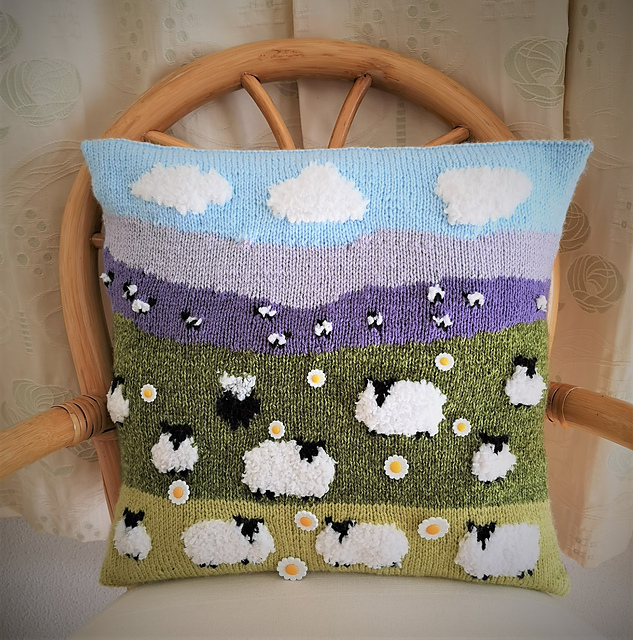 Knit a Sheep on the Hillside Pillow by Denny Gould ... It's 3D!